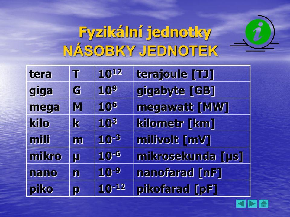 Fyzikální jednotky NÁSOBKY JEDNOTEK tera T 1012 terajoule [TJ] giga G